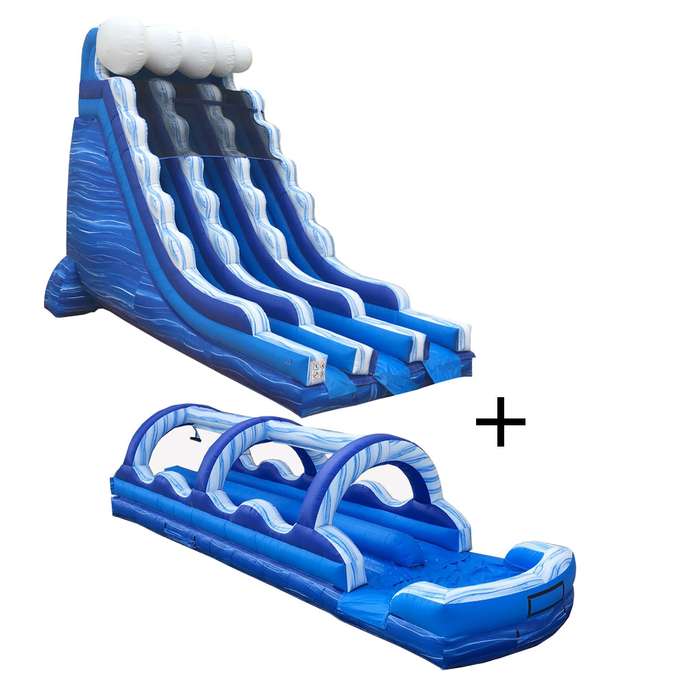 Pogo Blue Marble Commercial Inflatable Waterslide and Slip n Slide Combo with 2x Air Blowers by Pogo Bounce House