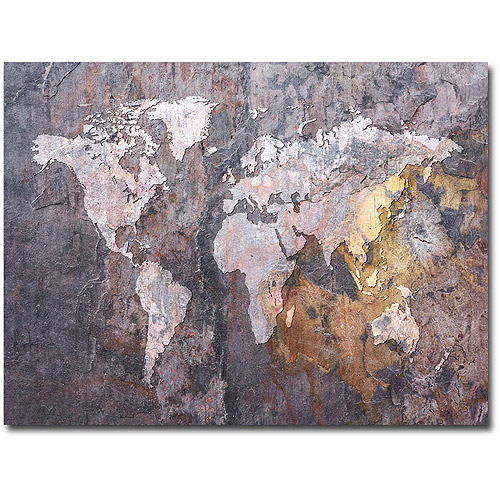 "Trademark Art ""World Map - Rock"" Canvas Wall Art by Michael Tompsett"