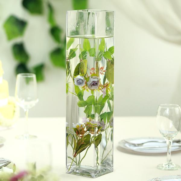 "Efavormart 6pcs/Set 18"" Tall Square Glass Flower Vase for Wedding Party Banquet Events Centerpiece Decoration Tabletop Decoration"