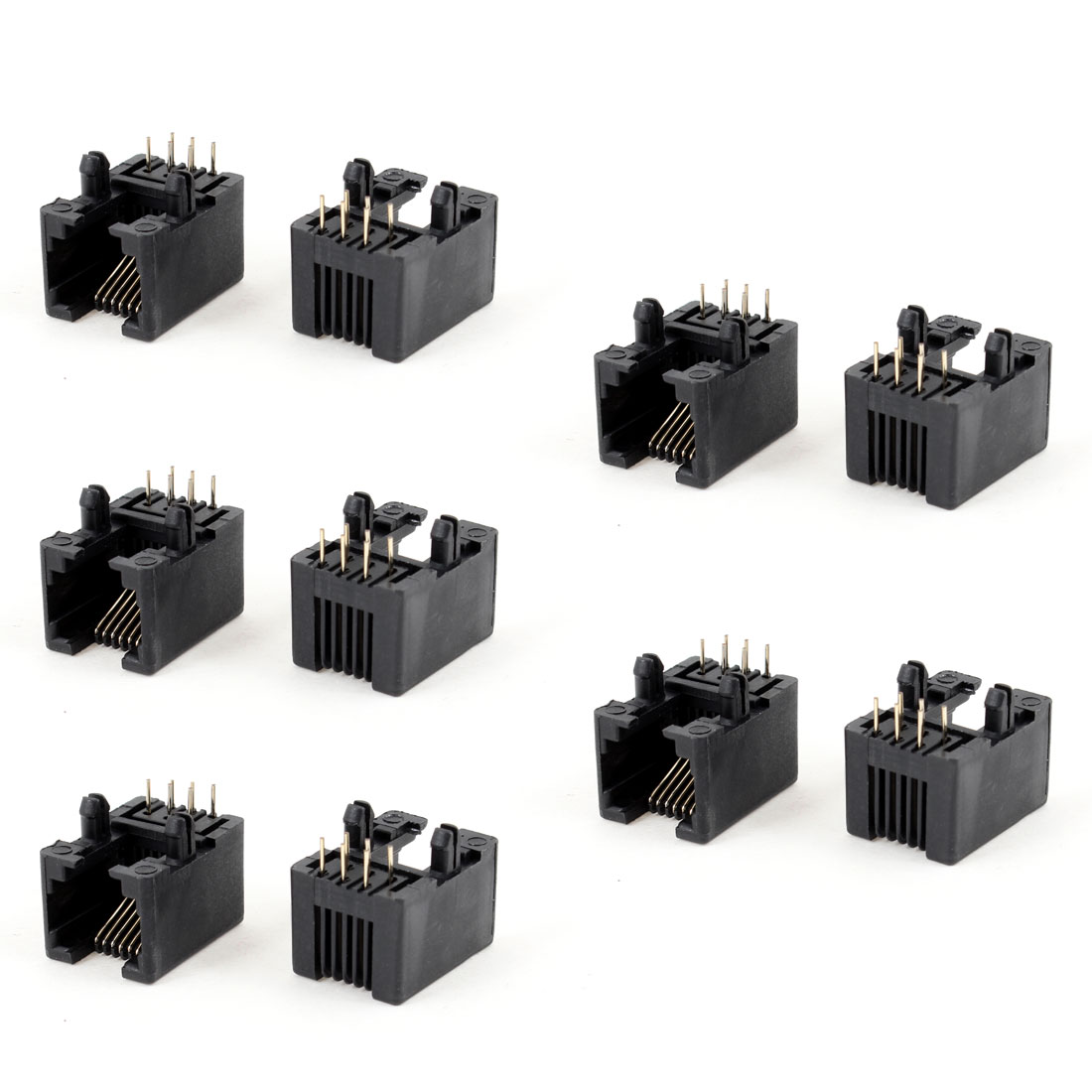 10pcs Right Angle RJ12 6P6C 6 Pin Network LAN Ethernet PCB Jacks Connector Black