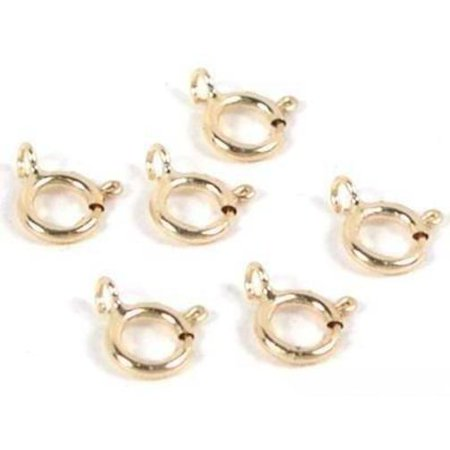 6 14K Yellow Gold Spring Ring Clasps Necklace Parts