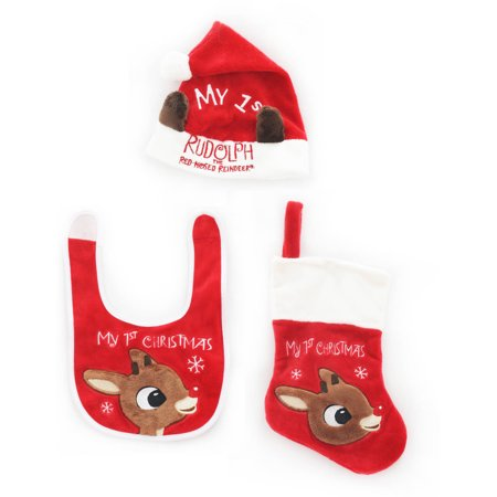 Holiday Time Christmas Ornaments Rudolph Baby Set