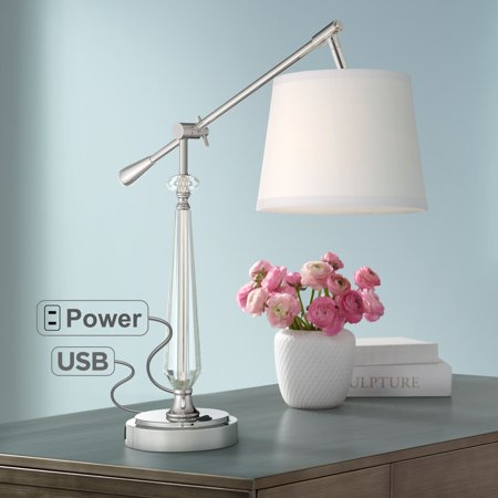 Vienna Full Spectrum Clarita Crystal Boom Arm Desk Lamp with USB Port and Outlet