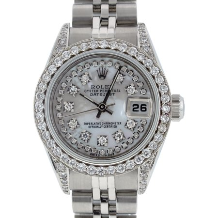 Pre-Owned Rolex Ladies Datejust Steel & 18K White Gold MOP Diamond Watch Jubilee Quick-Set