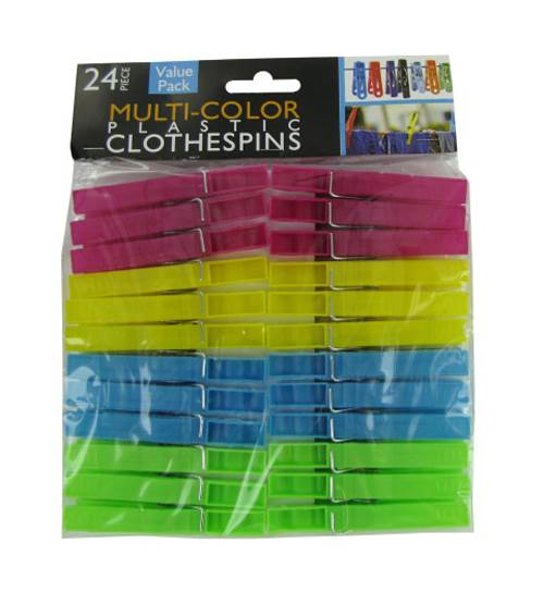 Multi-Color Plastic Clothes Pins - Set of 30