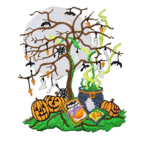 ID 0871 Halloween Night Scene Patch Trick Or Treat Embroidered Iron On Applique (Halloween Trick Or Treat Night)