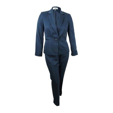Plaid Wool Suit (Le Suit Women's Tonal Plaid Single-Button Pantsuit (10, Bright Navy) )