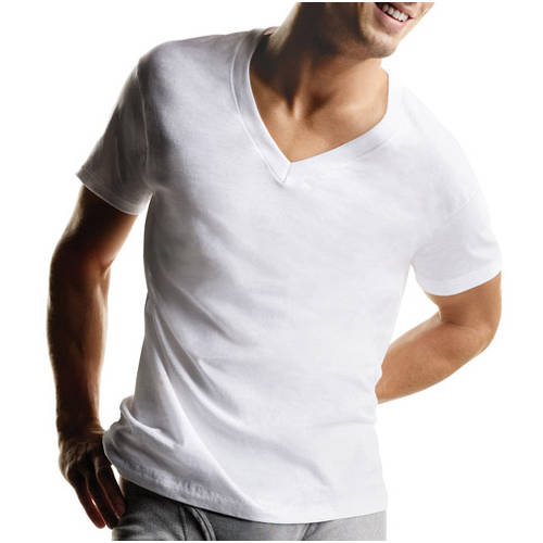 Hanes Men's 6 Pack V-Neck Tee