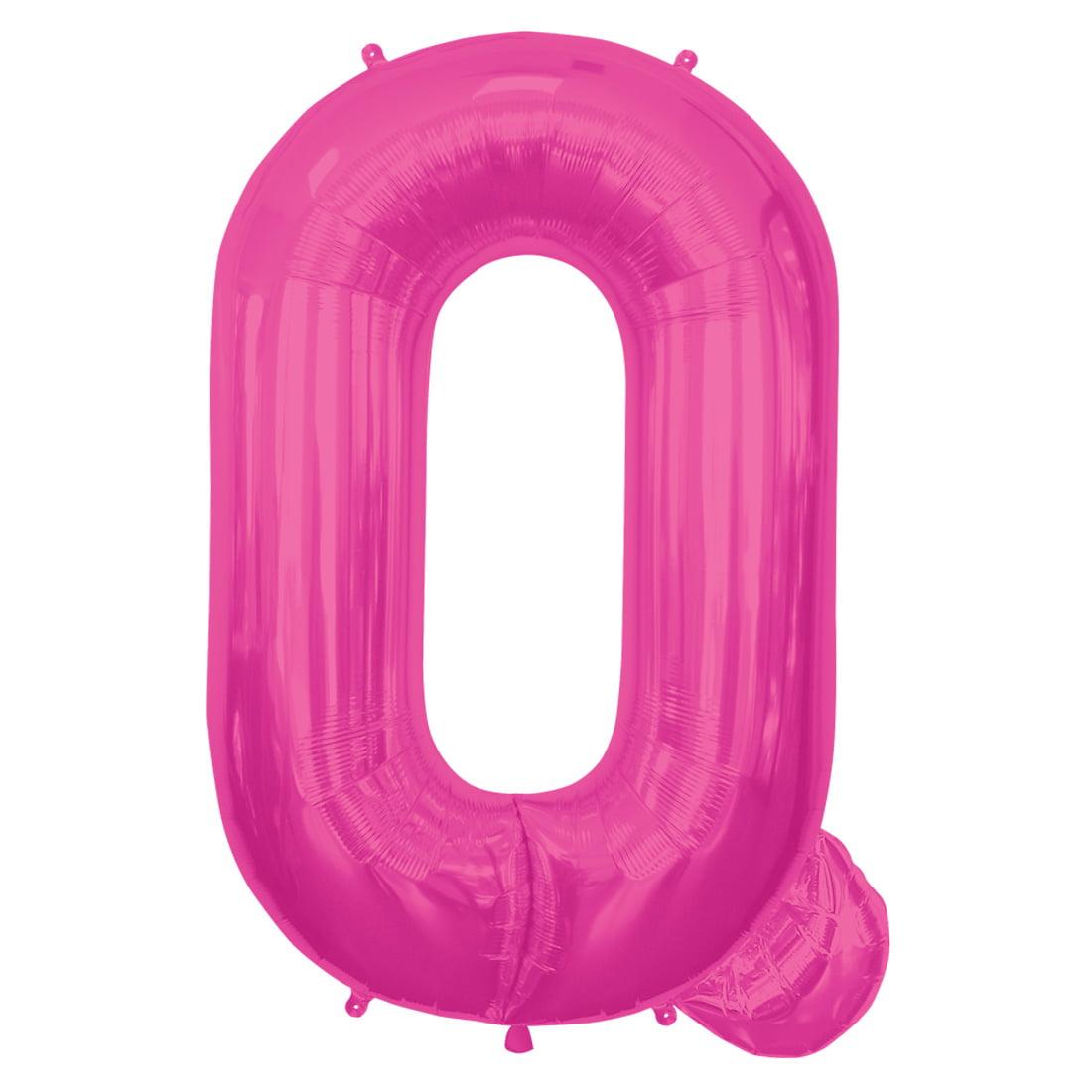 "Northstar Alphabet Letter Q Shape Solid Jumbo Helium 34"" Foil Balloon, Magenta"