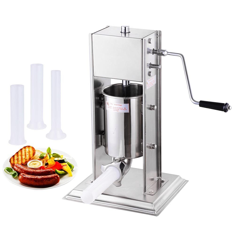 3L 8lbs Vertical Sausage Stuffer Meat Maker Filler Two Speed Commercial Stainless Steel