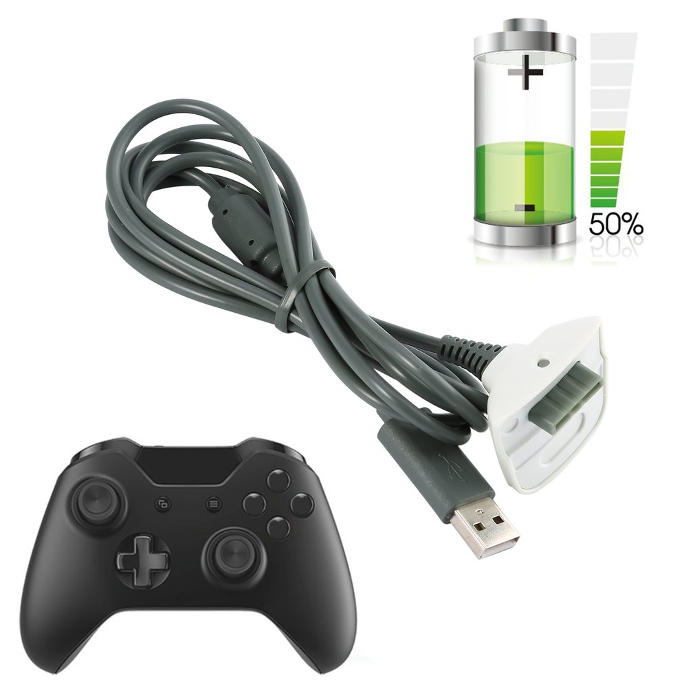 1pcs Black Wireless Controller Charger Charging Cable Black USB Charge Cord Lead Kit for Microsoft for Xbox for 360