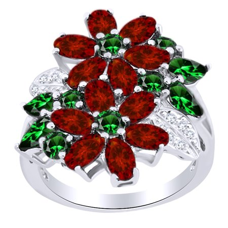 5.41 Ct Pear Cut Simulated Garnet, Green Emerald & White Topaz Floral Ring in 14k White Gold Over Sterling Silver Ring Size - 4