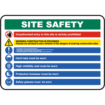 Traffic Signs - Site Safety Rules & PPE Required Sign 2 10 x 7 Aluminum Sign Street Weather Approved Sign 0.04 Thickness