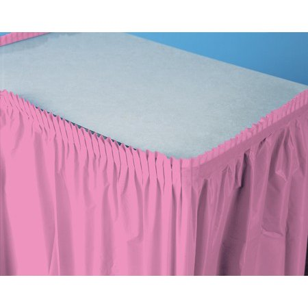 Pack of 6 Candy Pink Pleated Disposable Plastic Picnic Party Table Skirts 14' - Pink Table Skirt