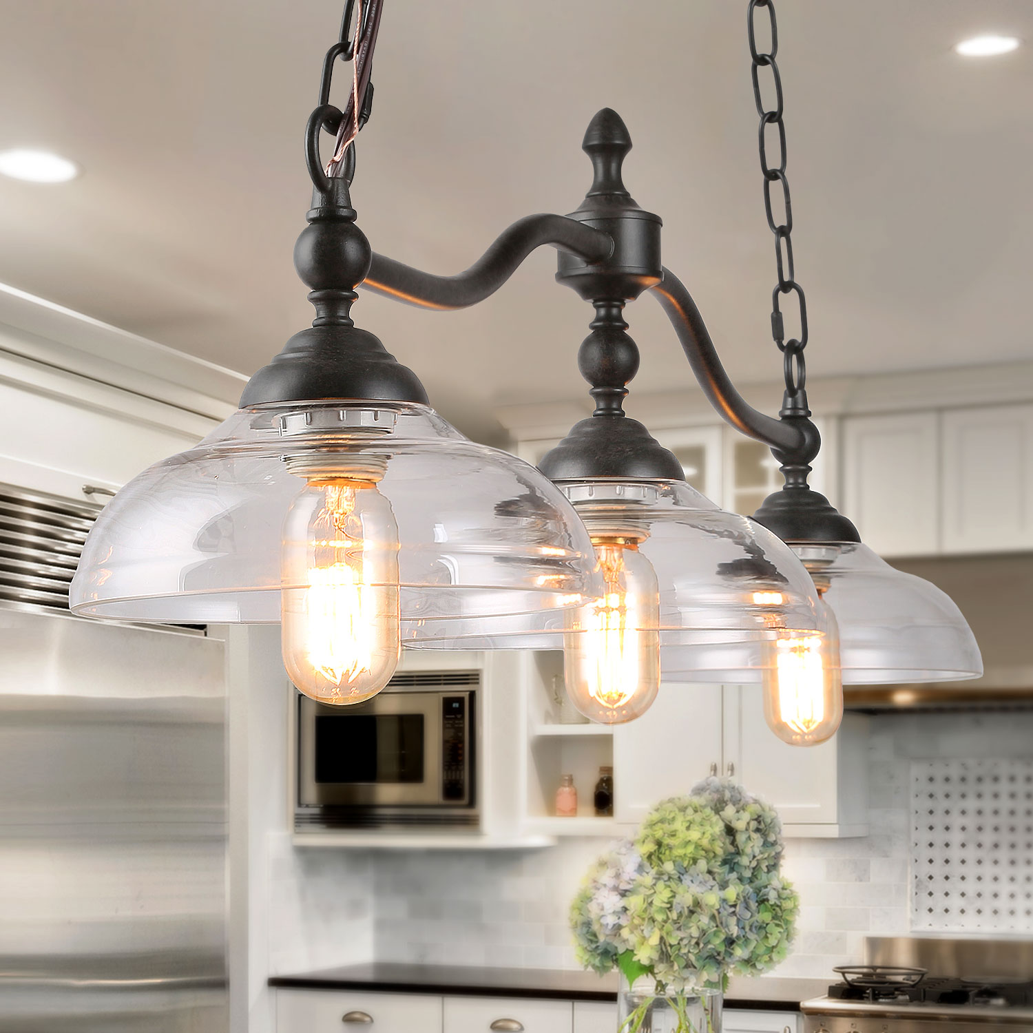 Lnc 3 Lights Island Hanging Lighting For Kitchen Island In Rusty Black Metal Finish With Clear Glass Shades 38 1 Large Chandelier Pendant Light Walmart Com Walmart Com