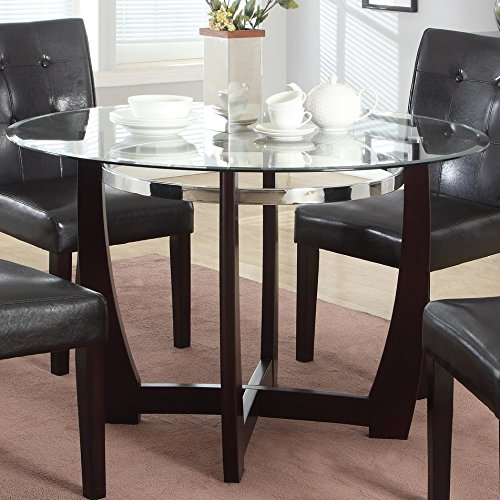 Roundhill Furniture Wesley 5 Piece Round Glass Top Dining Table Set