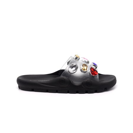Cape Robbin Treasure Map Black Jeweled Clear Vamp Super Comfortable Slide Sandal 03 Jeweled Sandals