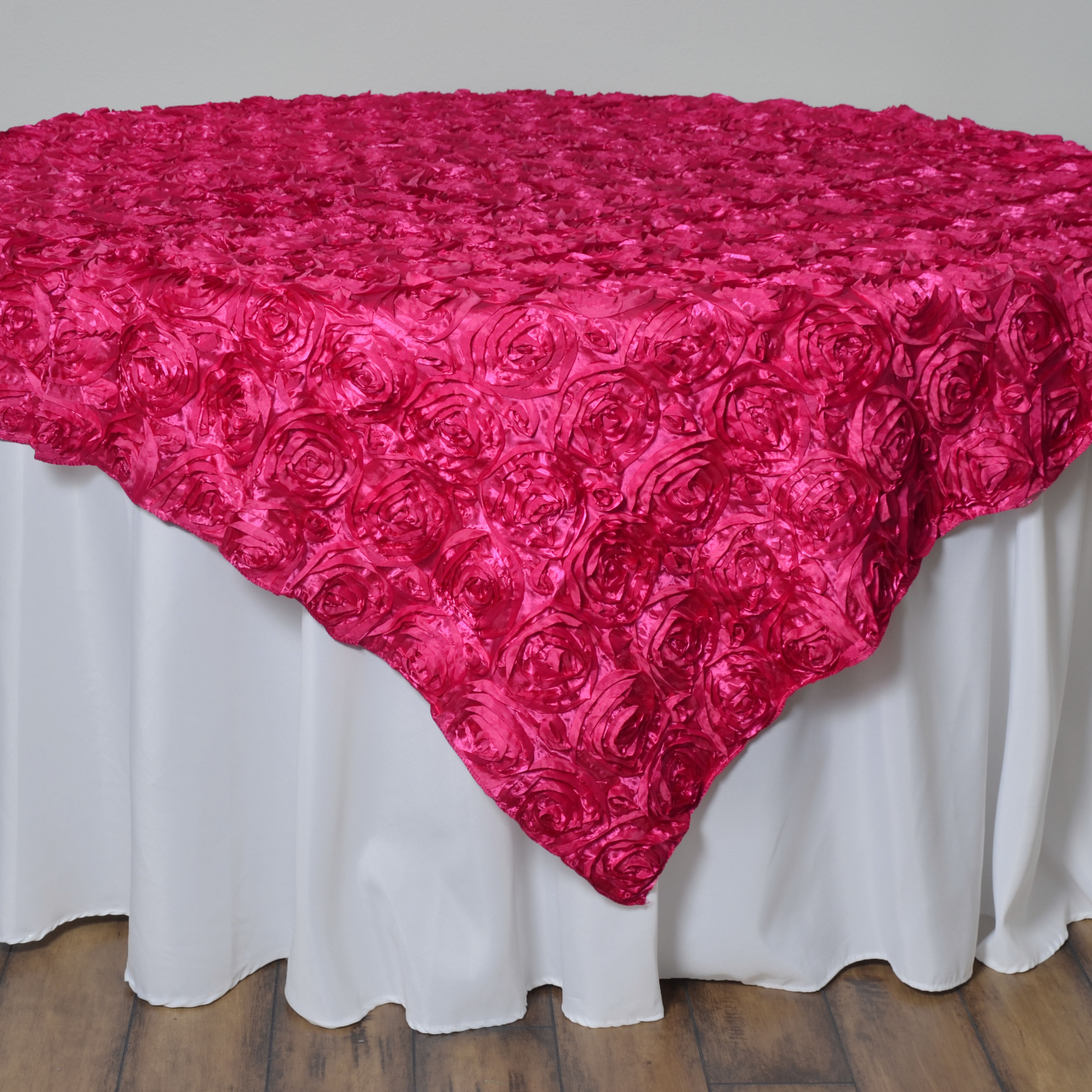 """BalsaCircle 72"""" x 72"""" Raised Ribbon Roses Table Overlays - Wedding Party Reception Catering Linens Dinner Banquet Event Decorations"""