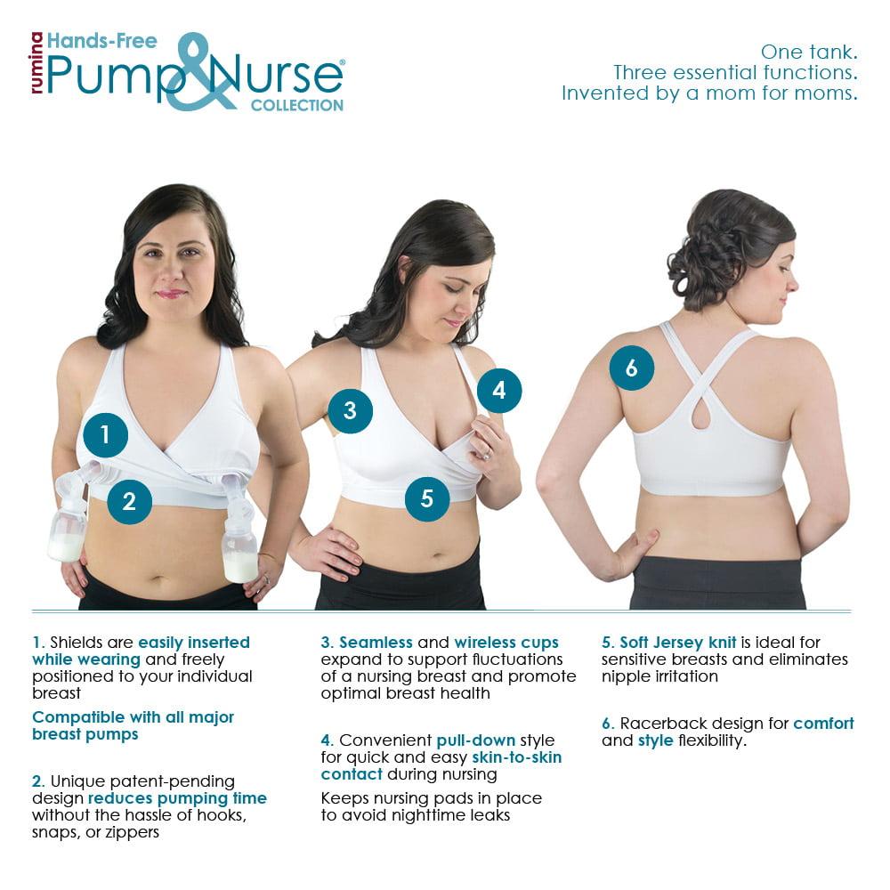 9908edbf77d87 Rumina Pump&Nurse - Rumina'S Pump&Nurse Racerback All-In-One Nursing Bra  For Maternity, Nursing With Built In Hands-Free Pumping Bra - Walmart.com