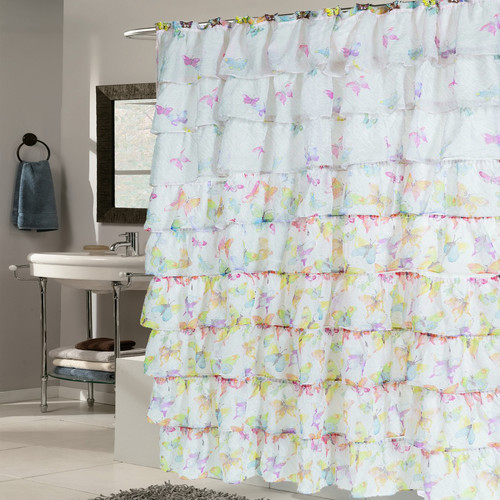 Sweet Home Collection Butterfly Crushed Voile Ruffled Tier Shower Curtain
