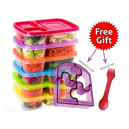 Perfect Fit Bento Lunch Box Food Containers – Set of 6 Premium Lunch Boxes– Ideal for Adults, Kids, Girls and Boys – 3 Compartment Japanese Style Lunch Boxes – Free 2-in-1 Fork/Spoon & Puzzle Sandwich