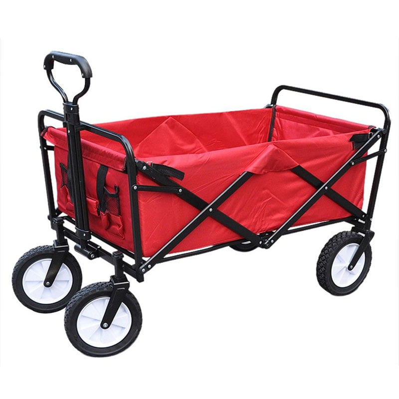 Brand New Outdoor Garden Multifunctional Red Folding Utility Cart Lawn Wagon by