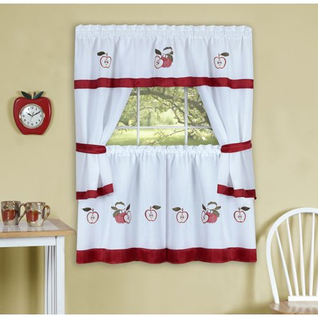 Gala Embellished Cottage Set - 58x36 Tailored Tier Pair/58x36 Tailored Topper with attached swaggers and tiebacks. - Rose - image 1 de 1