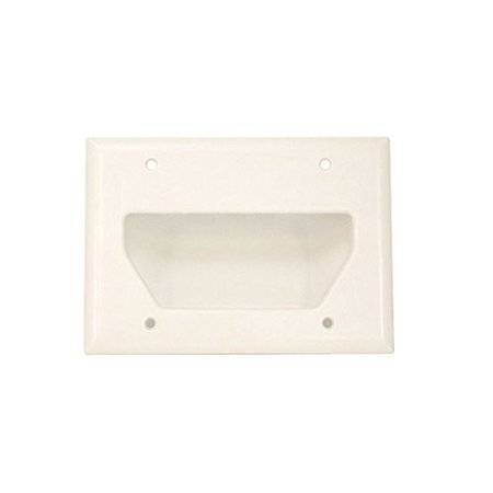 Monoprice 104004 Recessed Low Voltage Cable Wall Plate, 3-Gang, White