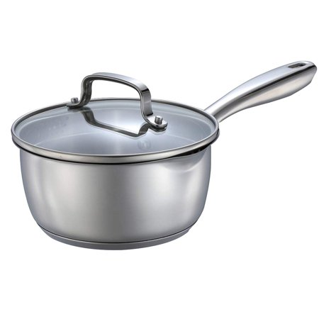 Momscook 1.5-Quart Stainless Steel Multi-Layer Saucepan with Glass Lid, Strainer Lid Cookware - Dishwasher/Oven (Copper Oven Safe Saute Pan)