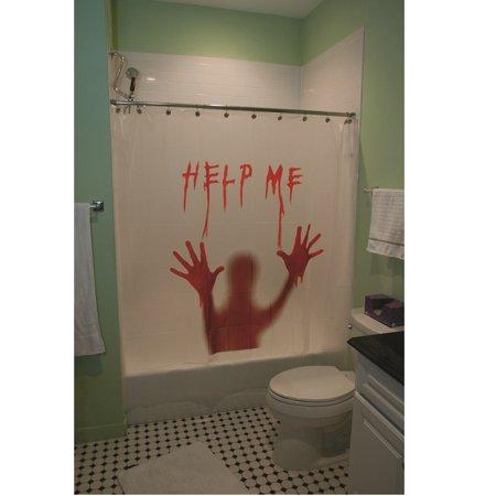 Help Me Bloody Shower Curtain Halloween Decoration (Help Me Shower Curtain)