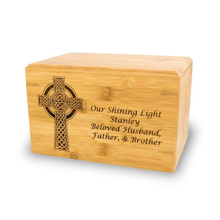 Bamboo Cremation Urn - Large 200 Pounds -  Brown Celtic Cross - Custom Engraving Included