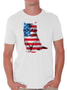 d9835158f Product Image Awkward Styles Cat Shirts Men's USA Flag Patriotic Graphic T- shirt Tops 4th of July