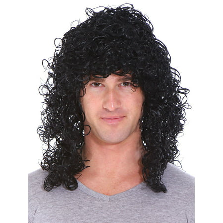 Deluxe Black Curly Rocker Wig - Adult Std - Beehive Wig Black