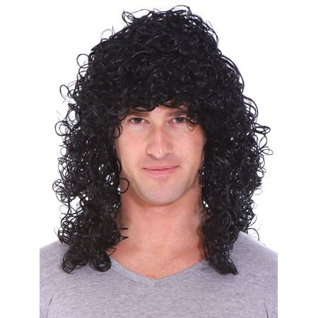 Deluxe Black Curly Rocker Wig - Adult Std](Cheap Black Wigs)