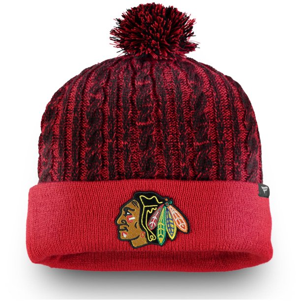 Chicago Blackhawks Fanatics Branded Women's Iconic Ace Cuffed Knit Hat with Pom - Red - OSFA