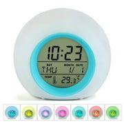Peroptimist Kids Alarm Clock, Digital Display Wake Up Clock/7 Colors Changing Night Light Sleeping Timer for Boys Girls Bedroom, Temperature and Calendar Display