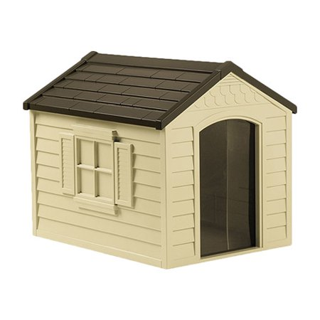 Suncast Deluxe Dog House in Tan & Mocha