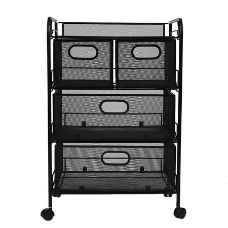 - Mind Reader Mesh 4 Drawer Rolling Mesh Office Cart, Metal Storage Drawers, File Storage Cart, Utility Cart, Office Storage Cart, Heavy Duty Multi-Purpose Cart, Black