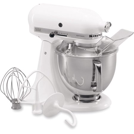 KitchenAid RRK150WH 5 QUART ARTISAN SERIES TILT HEAD STAND MIXER WHITE (Certified Refurbished) (Kitchenaid Mixer Covers 5 Quart)