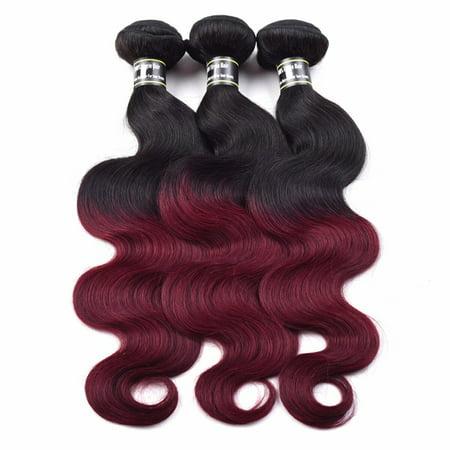 Beroyal Brazilian Body Wave Ombre Hair Bundles Burgundy/1B Human Hair Weave, -