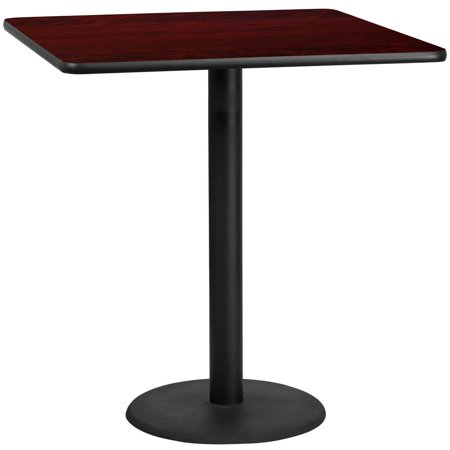 42'' Square Mahogany Laminate Table Top with 24'' Round Bar Height Table Base