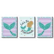 Let's Be Mermaids - Baby Girl Nursery Wall Art, Kids Room Decor & Home Decorations - 7.5 inches x 10 inches - Set of 3 Prints