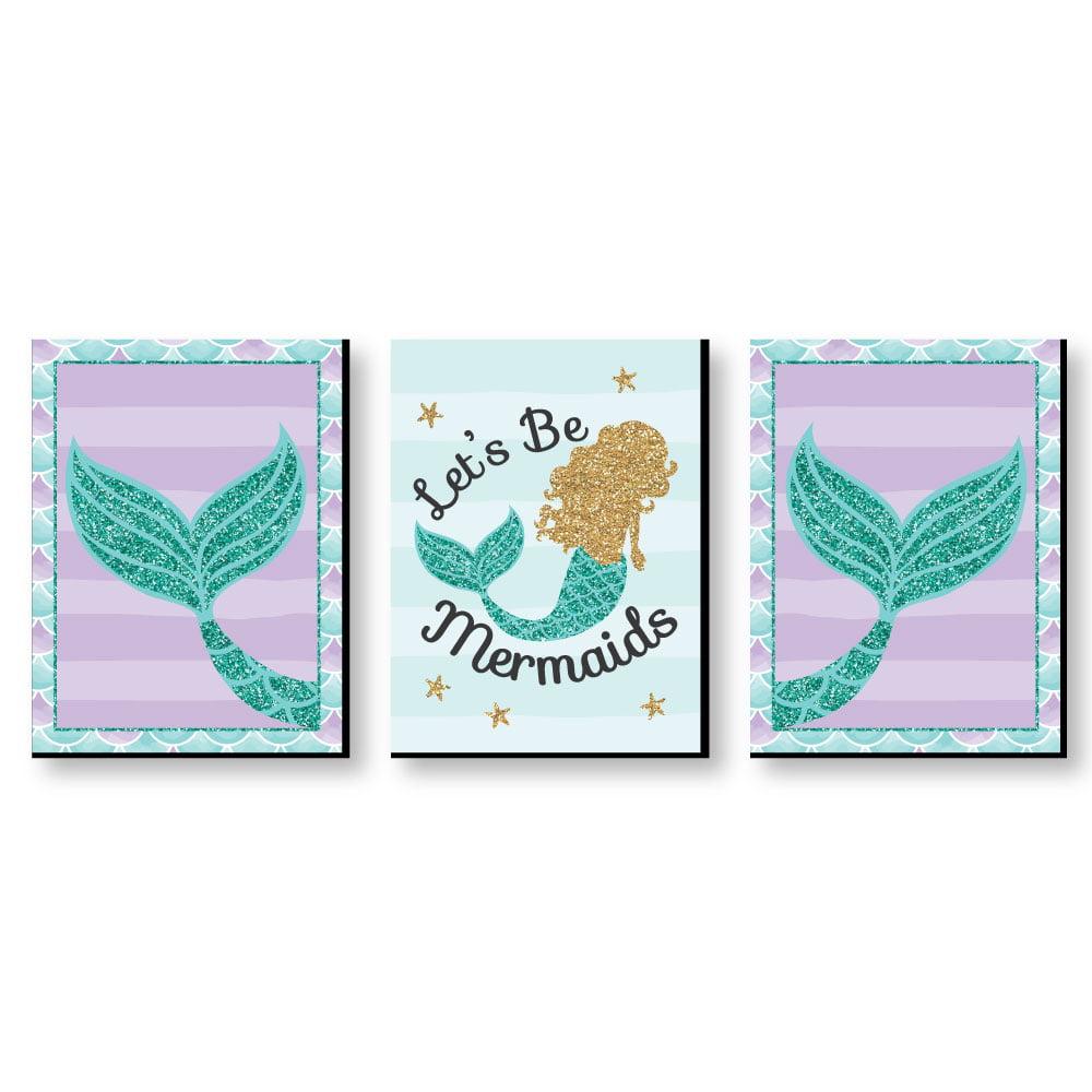 "Let's Be Mermaids - Baby Girl Nursery Wall Art, Kids Room Decor & Home Decorations - 7.5"" x 10"" - Set of 3 Prints"