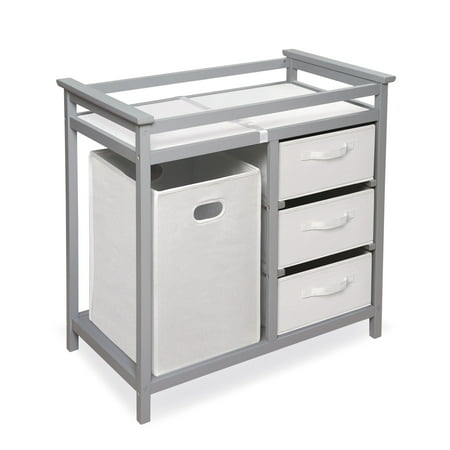 Badger Basket Modern Changing Table with 3 Baskets and Hamper, (Royal Cherry Changing Table)