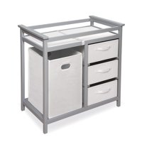 Badger Basket Modern Baby Changing Table with Hamper and 3 Baskets, White, Includes Pad