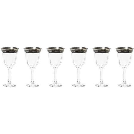 Joseph Seigh GPC1002-1786, 8 Oz Hand Made Goblet w/ Silver Platinum Ornament, Wine Glasses w/ Greek Key Design Rim, Set of 6
