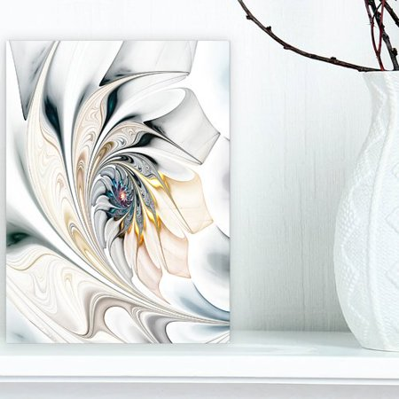 Design Art 'White Stained Glass Floral Large Floral' Graphic Print on Wrapped Canvas in White/Gray/Beige