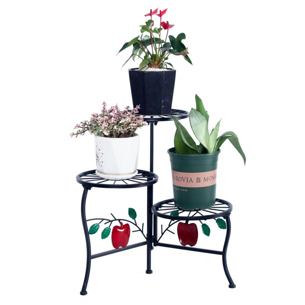 Corner Plant Stand For Multiple Plants 3 Tier Round Potted Metal Plant Stand For Indoor Outdoor