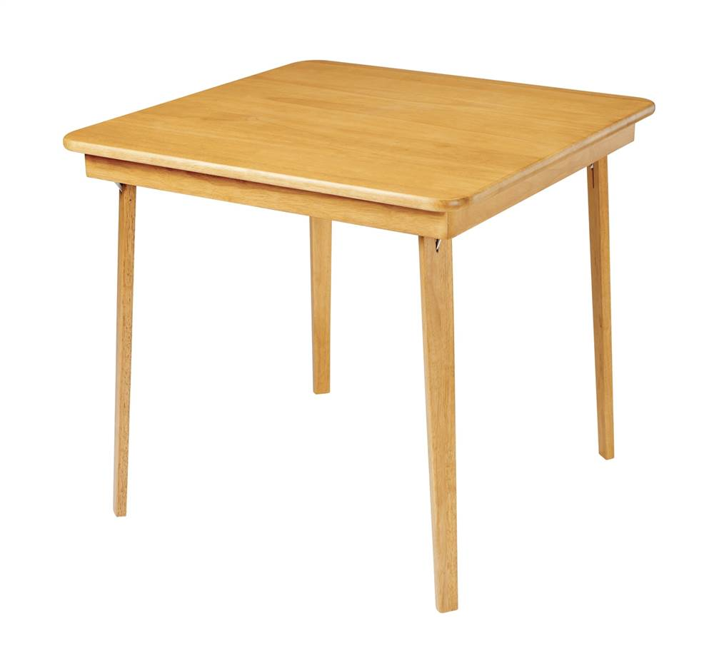 Straight Edge Wood Folding Card Table in Warm Oak Finish by Meco Corporation