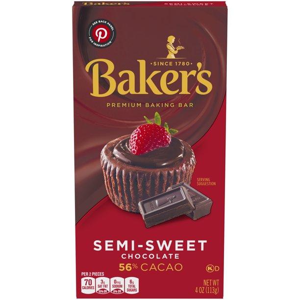 Baker S Semi Sweet Chocolate Premium Baking Bar With 56 Cacao 4 Oz Box Walmart Com Walmart Com